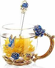 Emaille-Glas Becher: Kristall-Glas Tasse mit Emaillöffel (320ml – Blau Rose), Rutschfester Untersetzer & Tuch