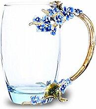 Emaille-Glas Becher: Kristall-Glas Tasse mit Emaillöffel (370ml - Blau Pflaumenblüte), Rutschfester Untersetzer & Tuch - Kunst Handwerk Glas Becher Teeglas Kaffeeglas Set in einer Geschenkbox