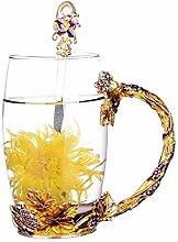 Emaille-Glas Becher: Kristall-Glas Tasse mit
