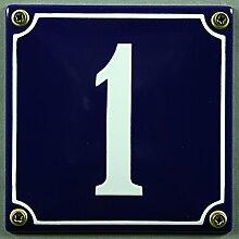 Emaille Hausnummernschild Nr. 1 blau / weiß 12x12
