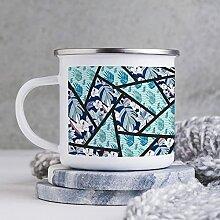 Emaille-Tasse, 284 ml, lustige Kaffeetasse, blaue