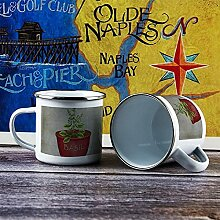 Emaille-Tasse, 284 ml, lustige Kaffeetasse, roter