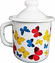 Emaille Tasse Becher mit Deckel 1 Liter ca 12cm Durchmesser - Apfel / Retro Nostalgie Geschirr