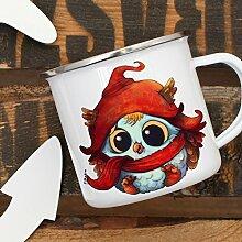Emaille Tasse Becher mit Eule Eulchen im Winter Kaffeebecher Camping-Becher Eulentasse eb10 ilka parey wandtattoo-welt®