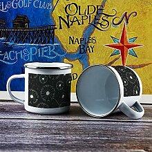 Emaille-Tasse, lustige Kaffeetasse, Design Blume