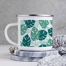 Emaille-Tasse, lustige Kaffeetasse, Motiv Pflanze