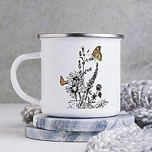 Emaille-Tasse, lustige Kaffeetasse, Motiv: