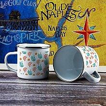 Emaille-Tasse, lustige Kaffeetasse, Muster Pflanze