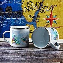 Emaille-Tasse, lustige Kaffeetasse, Vogel