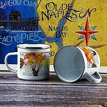 Emaille-Tasse, lustiger Kaffeebecher,