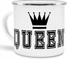 Emaille-Tasse mit Aufdruck Queen - Krone/Witzig /