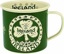 Emaille Tasse mit Irland Text un Shamrock Design,
