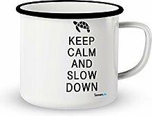 Emaille-Tasse mit Spruch - And slow down - Lustige