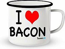 Emaille-Tasse mit Spruch - Bacon - Lustige