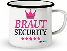 Emaille-Tasse mit Spruch - Braut Security -