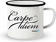 Emaille-Tasse mit Spruch - Carpe Diem - Lustige