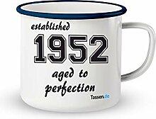 Emaille-Tasse mit Spruch - Established 1952 -