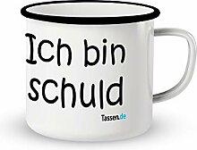 Emaille-Tasse mit Spruch - Ich bin Schuld -