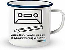 Emaille-Tasse mit Spruch - Kinder werden niemals