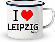 Emaille-Tasse mit Spruch - Leipzig - Lustige
