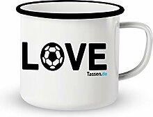 Emaille-Tasse mit Spruch - Love Fußball - Lustige