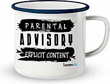 Emaille-Tasse mit Spruch - Parental Advisory -