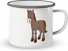 Emaille-Tasse mit Spruch - Suesses Pferd - Lustige