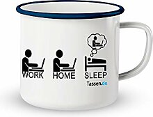 Emaille-Tasse mit Spruch - Work Home Sleep -
