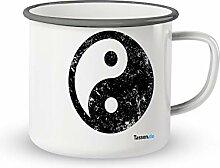 Emaille-Tasse mit Spruch - Ying Yang - Lustige