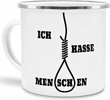 Emaille-Tasse mit SpruchIch Hasse Menschen - /