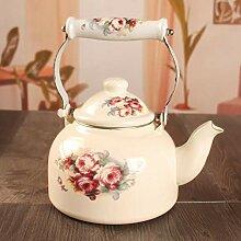 Emaille Teekanne mit 3 Rosen, 1,5 l Teesets