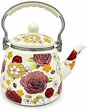 Emaille-Teekanne mit Blumenmuster, groß,