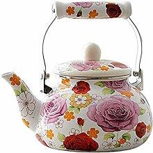 Emaille-Teekanne mit Blumenmuster, große