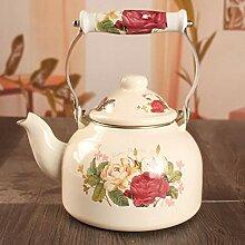 Emaille-Teekanne, Teekanne, mit 3 Rosen, 1,5 l