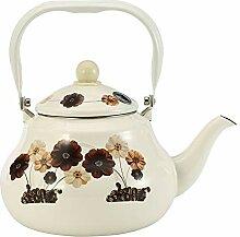 Emaille Teekanne Teekessel Wasser Kanne,Beige,2L