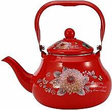 Emaille Teekanne Teekessel Wasser Kanne,Rot,2L