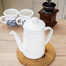 Emaille Wasserkocher Kaffeekanne 1,1L Emaille