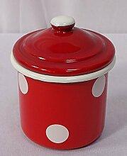 Emaille Zuckerdose, Küchenbehälter, Vorratsdose Deckel, Tupfen Rot- Weiß