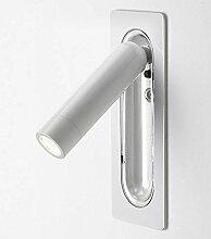 Embedded LED Wand-Leselampe freie Winkel mit Schalter Schlafzimmer Studio Hotelzimmer Bett ( Color : Dumb white )