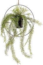 Emerald Kunstpflanze Farn im Hängetopf mit Ring