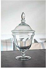 EMH handgemachte Glasdose mit Fuß 33,5 cm