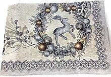 EmilyHome Weihnachtliche Tischdecke, Gobelin-Stoff
