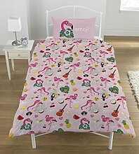 Emoji Flamingo Bettwäsche-Set, Mehrfarbig, 135 x