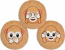 Emoji Kissen Affen Geschenkidee Nichts Böses