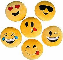 Emoji Smiley Emoticon-Kissen, rund, Gelb, 6 Designs