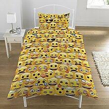 Emoji-Wendebettwäsche-Set, Gelb, Einzelbe