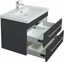 Emotion DURAVIT2NDFLOOR80CM000104DE Waschbecken mit Unterschrank, Holz, anthrazit seidenglanz, 80 x 54 x 50 cm