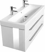 Emotion ICON120CM000101DE Waschbecken mit Unterschrank, Holz, weiß hochglanz, 120 x 45 x 46,6 cm