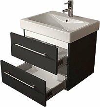 Emotion ICON60CM000104DE Waschbecken mit Unterschrank, Holz, anthrazit seidenglanz, 60 x 57 x 48,5 cm