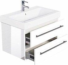 Emotion ICON75CM000101DE Waschbecken mit Unterschrank, Holz, weiß hochglanz, 75 x 45 x 46,6 cm